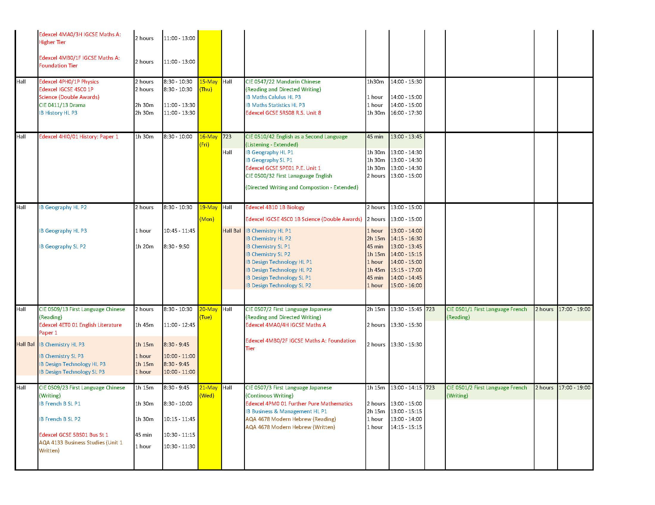 exam timetable, please feel free to contact the exam office – Room
