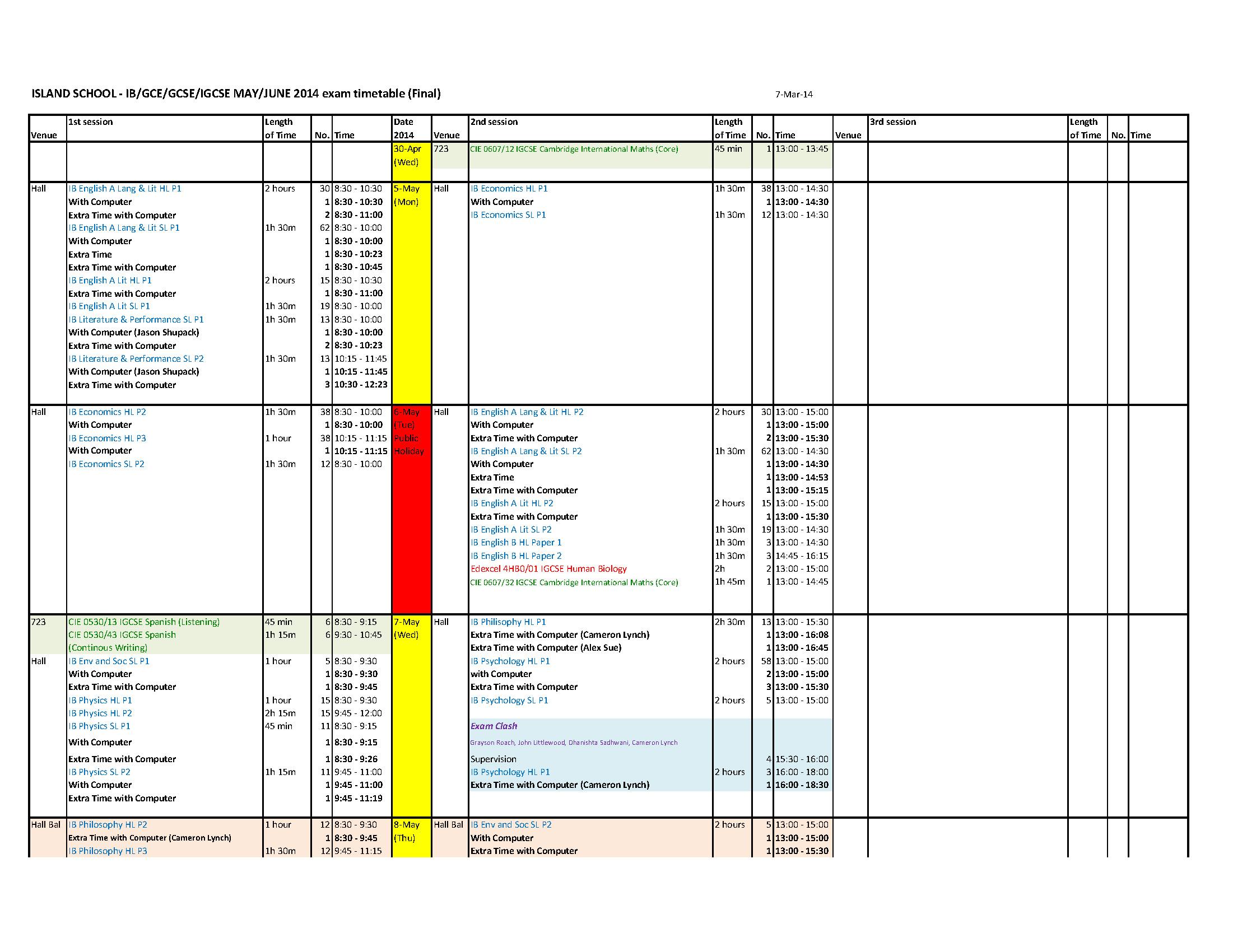 Ib Gce Gcse Igcse Exam Timetable May June 2014 Final Page 1 Jpg